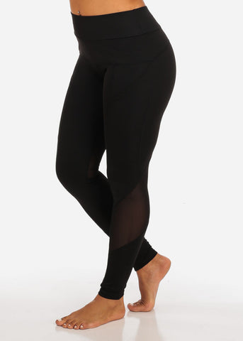 Activewear Black Mesh Sheer High Waisted Leggings W Side Pockets