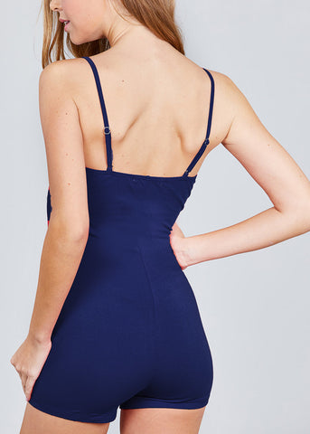 Image of Spaghetti Strap Navy Mini Romper