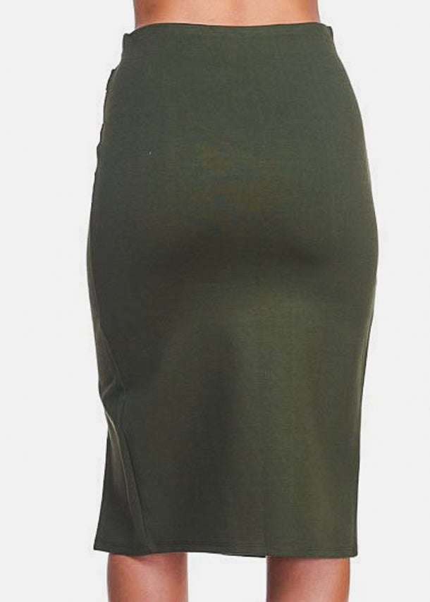 Front Slit Olive Knee Length Skirt