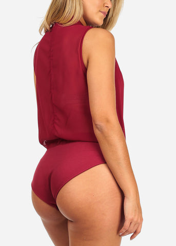 Image of Women's Junior Ladies Sexy Going Out Clubwear V Neckline Lingerie Partial See Through Red Bodysuit