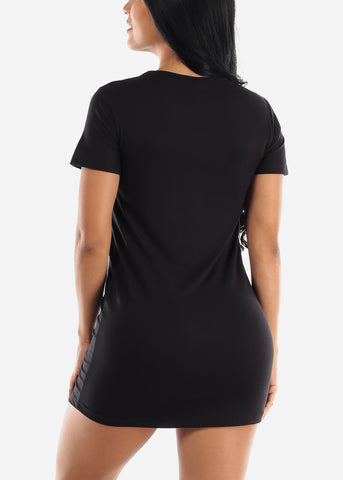 "Short Sleeve Black Sleep Dress ""Love"""