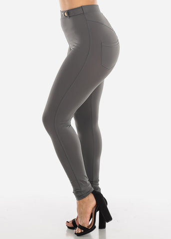 Grey High Rise Dressy Skinny Pants
