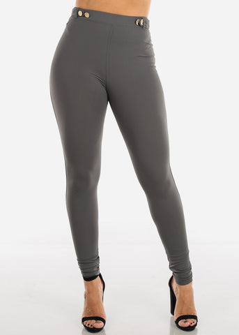 Image of Grey High Rise Dressy Skinny Pants