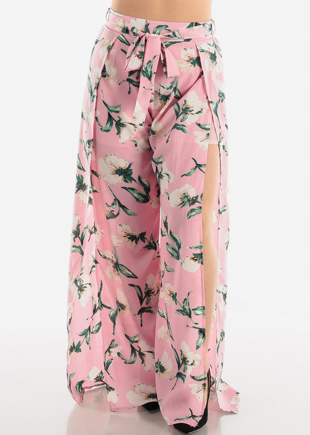 Floral Pink Palazzo Pants W Slits