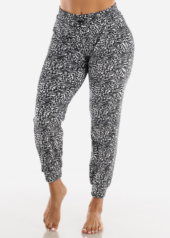 Image of Zebra Print Plush Pajama Pants
