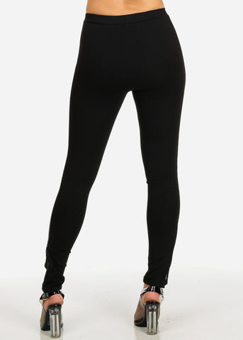 Black Side See-Through Skinny Pants