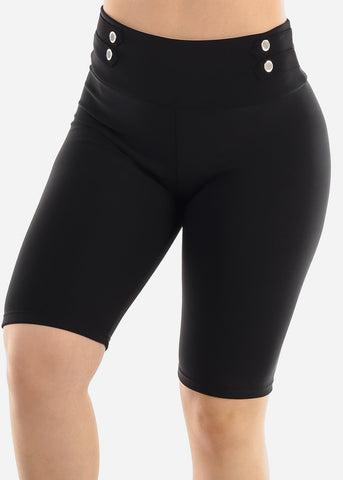 Image of Black Button Detail Shorts