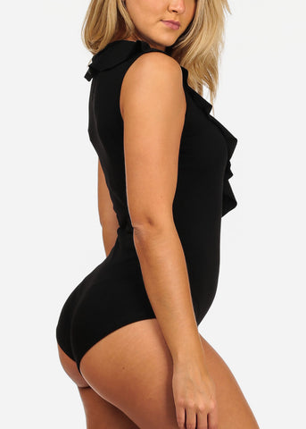 Image of Sexy Black Ruffle Bodysuit