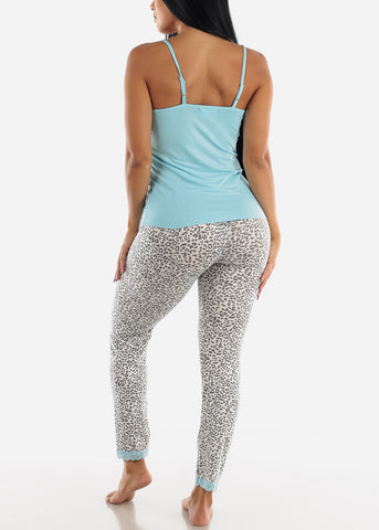 Light Blue Solid Top & Printed Pants (2 PCE PJ SET)