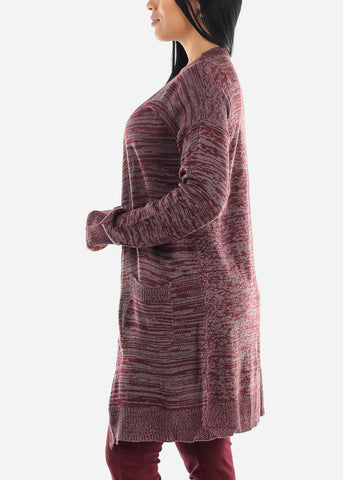 Heather Burgundy Knitted Maxi Cardigan