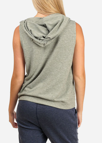 Women's Junior Ladies Casual Solid Color Sleeveless Sporty Sweatshirt Hoodies Hoody Solid Grey Top W Hood
