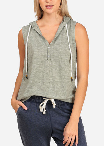Image of Women's Junior Ladies Casual Solid Color Sleeveless Sporty Sweatshirt Hoodies Hoody Solid Grey Top W Hood