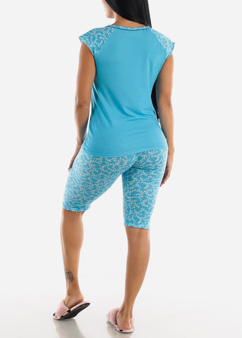 Image of Blue Printed Top & Capris (2 PCE PJ SET)