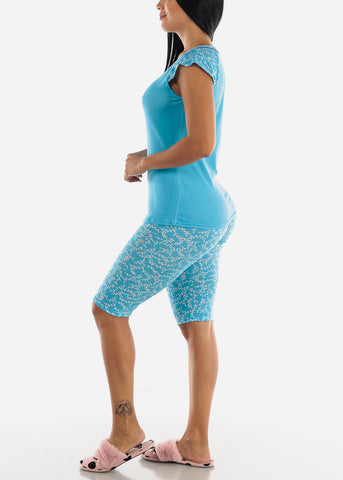 Blue Printed Top & Capris (2 PCE PJ SET)