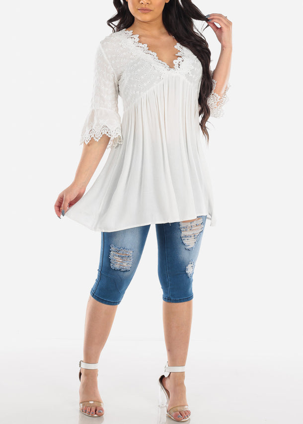 White Floral Crochet Tunic Top
