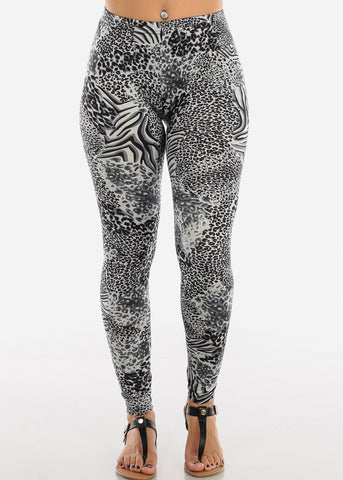 Dark Grey Animal Print Leggings L138DKGRY