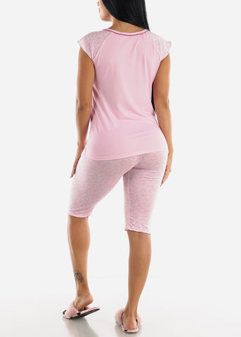 Image of Pink Printed Top & Capris (2 PCE PJ SET)