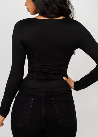 Sweetheart Neck Black Knot Top