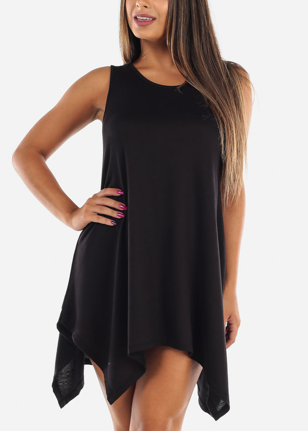 Casual Cute Flowy Black Stretchy Dress For Women Juniors Ladies