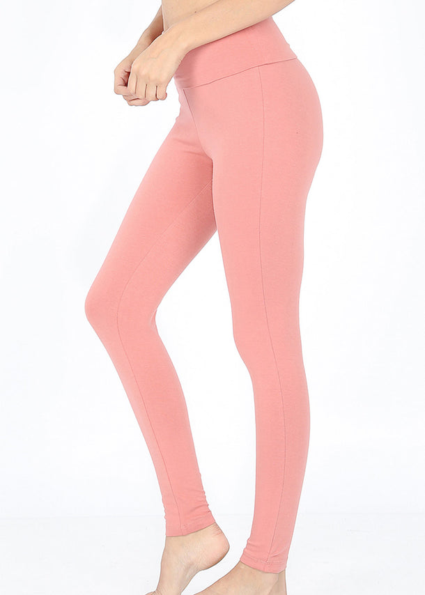 Fold Over High Waisted Mauve Leggings