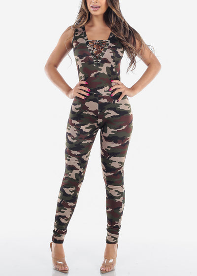 Cute Sexy Lace Up Camouflage Print Sleeveless Army Print Skinny Leg Jumper For Women Ladies