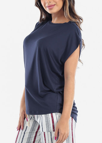 Women's Junior Ladies Casual Round Neckline Short Sleeve Loose Fit Light Navy Tunic Top
