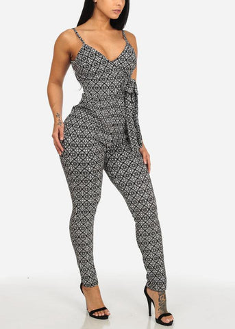 Affordable Sexy Black and White Printed Jumpsuit