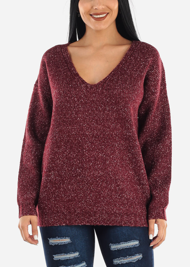 Burgundy Knitted Sweater
