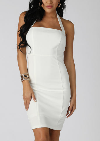 Image of Sexy White Halter Dress