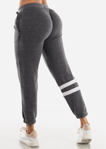 Mid Rise Charcoal Fleece Jogger Sweatpants
