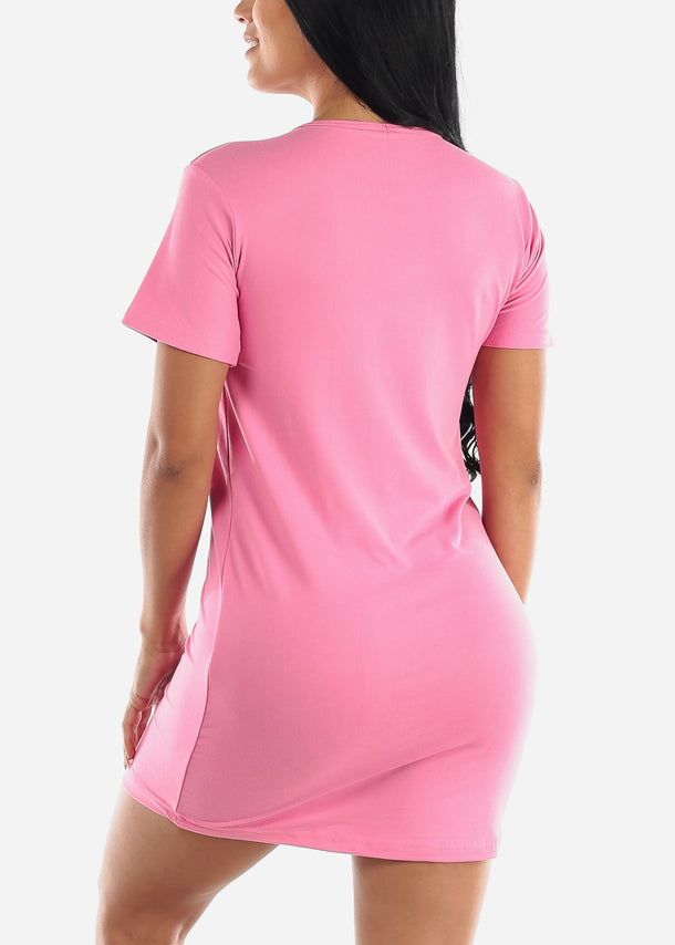 Short Sleeve Pink Sleep Dress