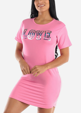 "Image of Short Sleeve Pink Sleep Dress ""Love"""