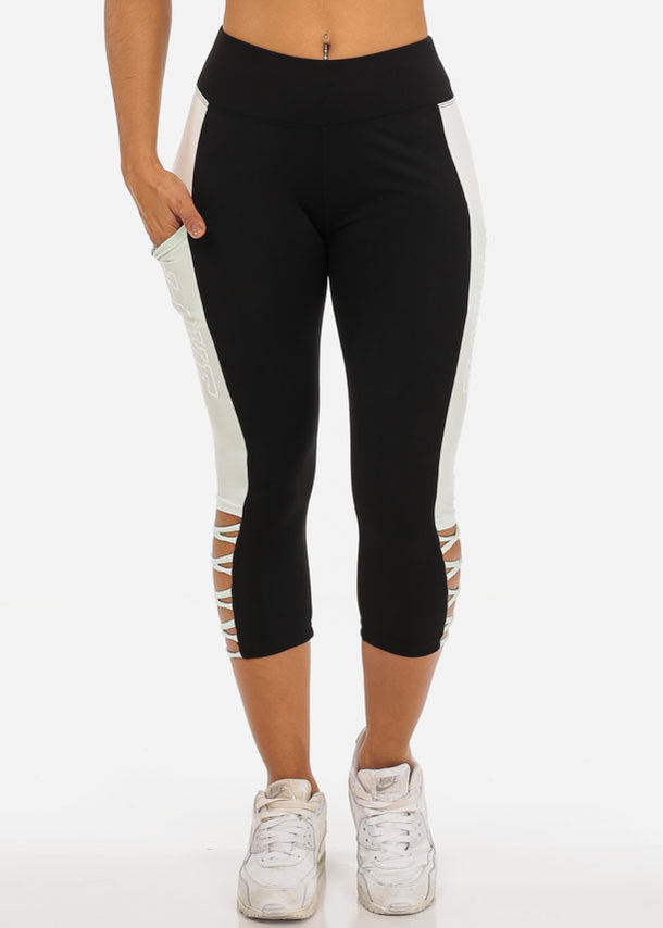 Love Print Black Criss Cross Capri Leggings