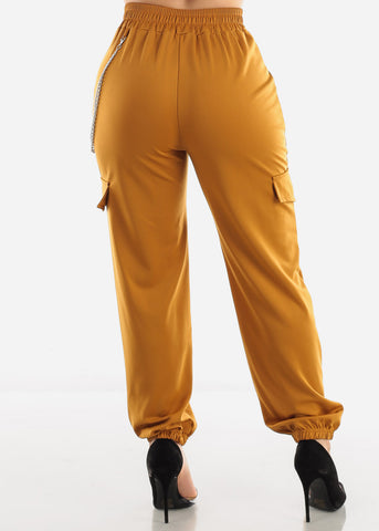 Image of Mustard Utility Chain Pants