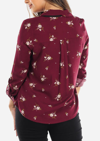 Burgundy Floral Tie-Neck Button Down Top