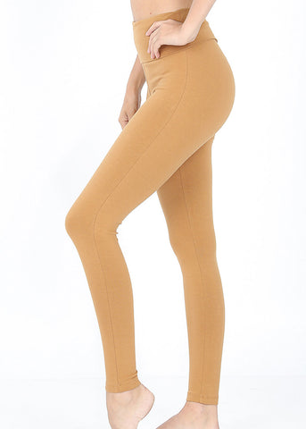 Fold Over High Waisted Camel Leggings