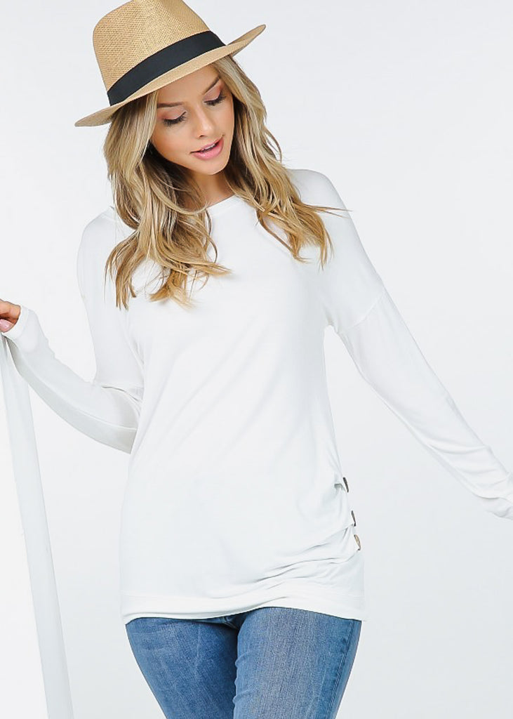 White Long Sleeve Simple Tunic Top