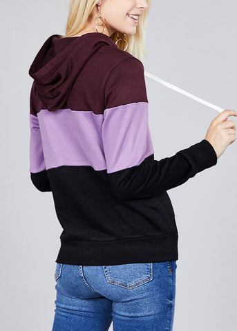 Casual Multicolor Purple Stripe Sweater W Hood