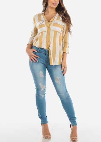 Image of White & Mustard Stripe Button Down Shirt