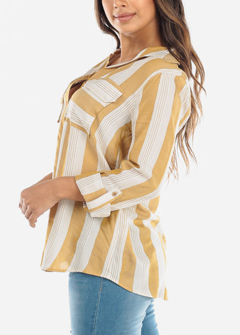 White & Mustard Stripe Button Down Shirt