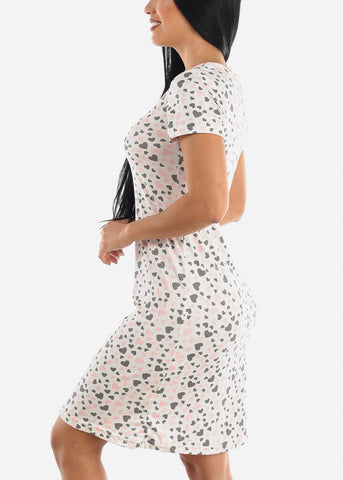 Image of Heart Printed Sleepwear Dress