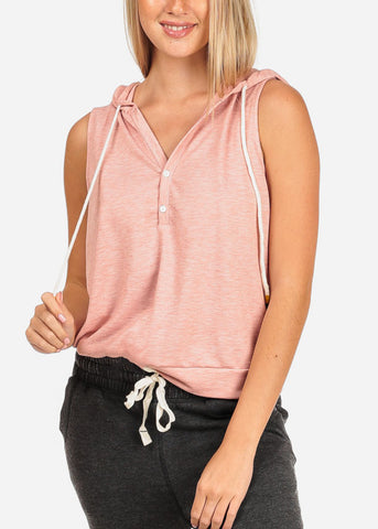 Women's Junior Ladies Casual Solid Color Sleeveless Sporty Sweatshirt Hoodies Hoody Solid Rose Top W Hood