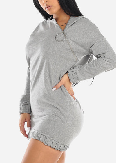Asymmetric Front Zipper Grey Sweater Dress