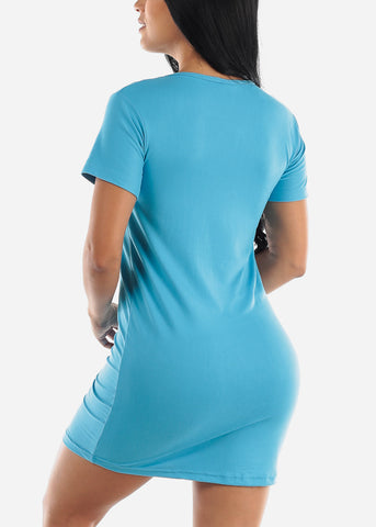 "Image of Short Sleeve Blue Sleep Dress ""Love"""
