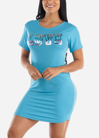 "Short Sleeve Blue Sleep Dress ""Love"""