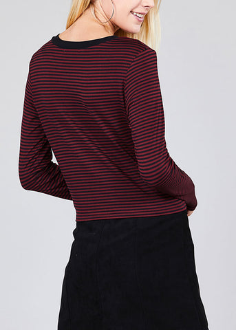 Casual Round Neckline Tie Front Burgundy Stripe Crop Top