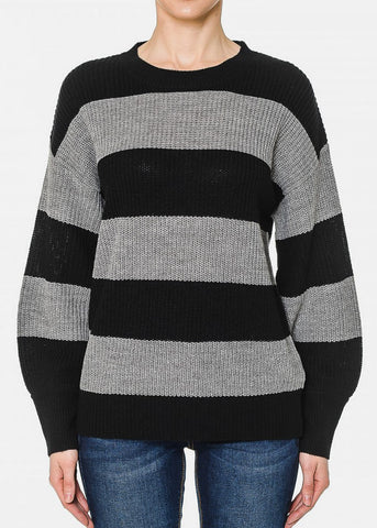 Grey & Black Long Sleeve Stripped Sweater