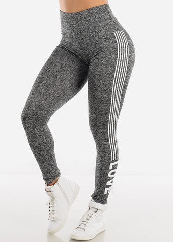 "Activewear Heather Grey Stripe Leggings ""Love"""