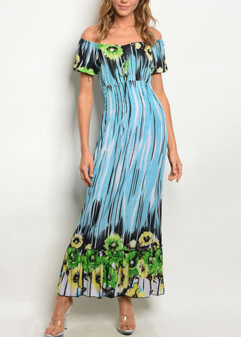 Off Shoulder Printed Blue Maxi Dress