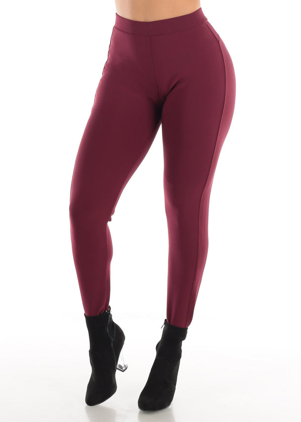 Dressy Butt Lifting Burgundy Skinny Pants
